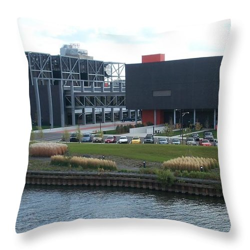 Architechture Throw Pillow featuring the photograph Harley Museum Milwaukee by Anita Burgermeister