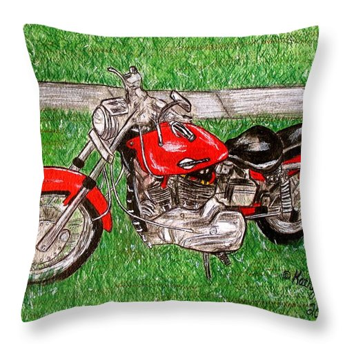 Harley Throw Pillow featuring the painting Harley Red Sportster Motorcycle by Kathy Marrs Chandler