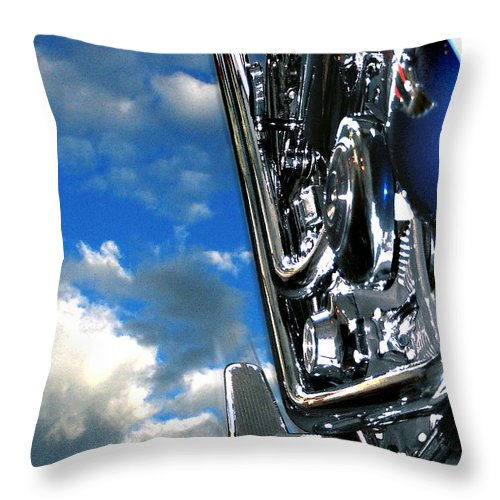 Motor Cycle Throw Pillow featuring the photograph Harley by Steve Karol
