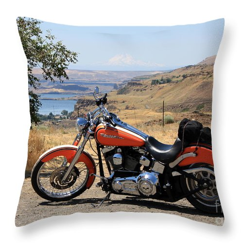 Washington State Throw Pillow featuring the photograph Harley With Columbia River And Mt Hood by Carol Groenen