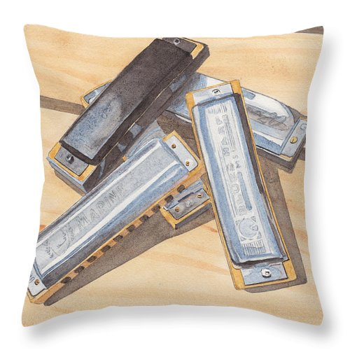 Harmonica Throw Pillow featuring the painting Harmonica Pile by Ken Powers