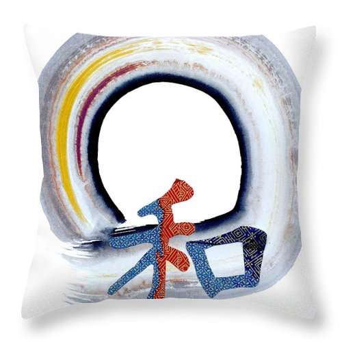 Tao Throw Pillow featuring the painting Harmony by Ellen Miffitt