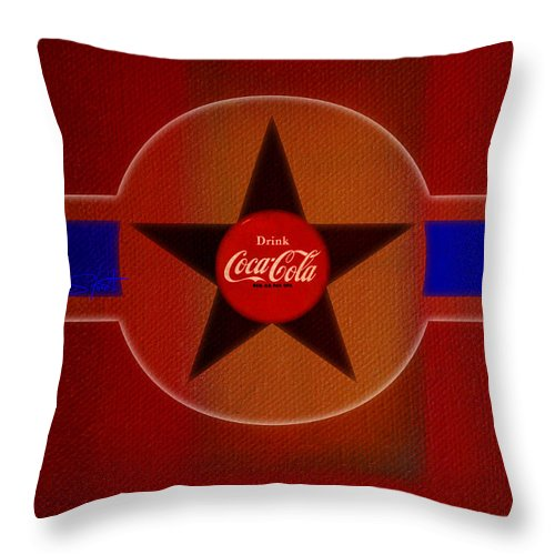 Label Throw Pillow featuring the painting Harmony In Red by Charles Stuart