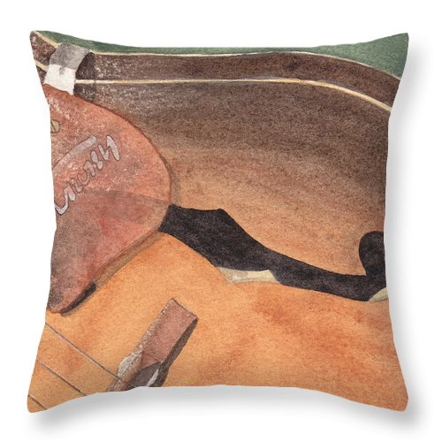 Guitar Throw Pillow featuring the painting Harmony by Ken Powers