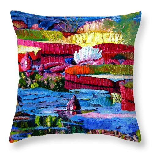 Water Lilies Throw Pillow featuring the painting Harmony Of Color And Light by John Lautermilch