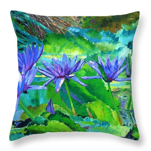 Purple Water Lilies Throw Pillow featuring the painting Harmony Of Purple And Green by John Lautermilch