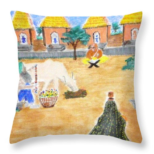 Throw Pillow featuring the painting Harmony by R B