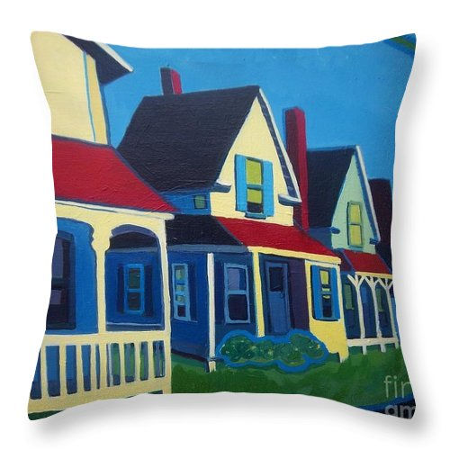 Maine Throw Pillow featuring the painting Harpswell Cottages by Debra Bretton Robinson