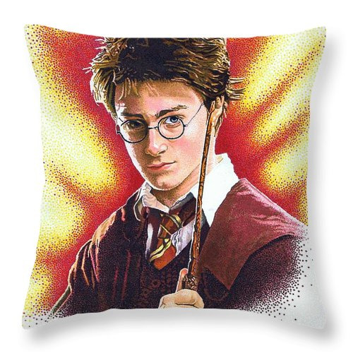 Celebrity Throw Pillow featuring the drawing Harry Potter The Wizard by Judy Skaltsounis