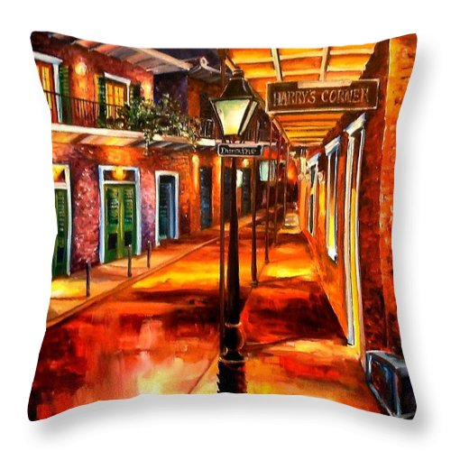 New Orleans Throw Pillow featuring the painting Harrys Corner New Orleans by Diane Millsap