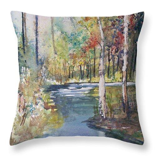 Ryan Radke Throw Pillow featuring the painting Hartman Creek Birches by Ryan Radke