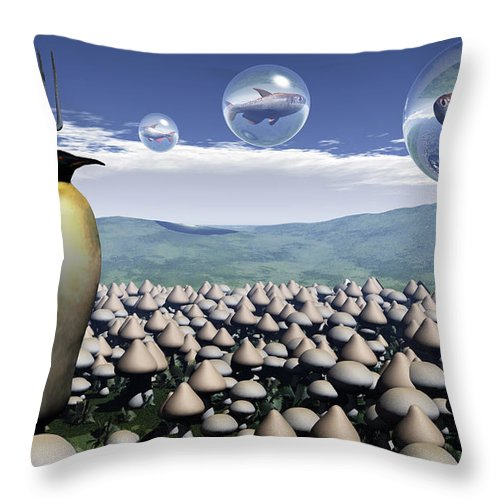 Surreal Throw Pillow featuring the digital art Harvest Day Sightings by Richard Rizzo