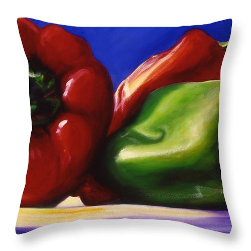 Still Life Throw Pillow featuring the painting Harvest Festival Peppers by Shannon Grissom