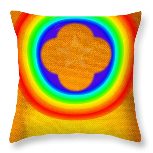 Abstract Throw Pillow featuring the painting Harvest Gold by Charles Stuart