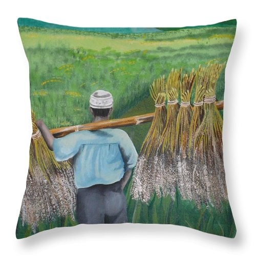 Landscape Throw Pillow featuring the painting Harvest by Kris Crollard