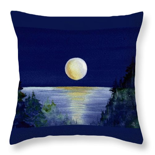 Watercolor Throw Pillow featuring the painting Harvest Moon by Brenda Owen