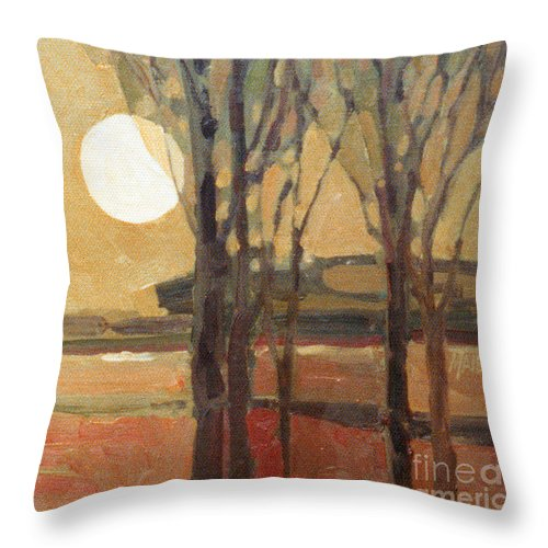 Sunset Throw Pillow featuring the painting Harvest Moon by Donald Maier