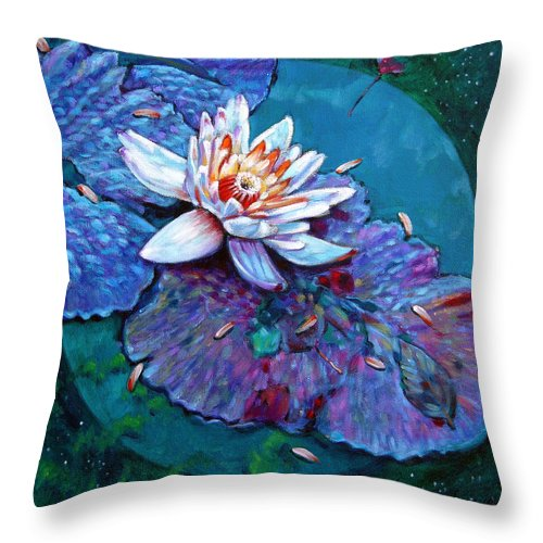 Water Lily Throw Pillow featuring the painting Harvest Moon by John Lautermilch