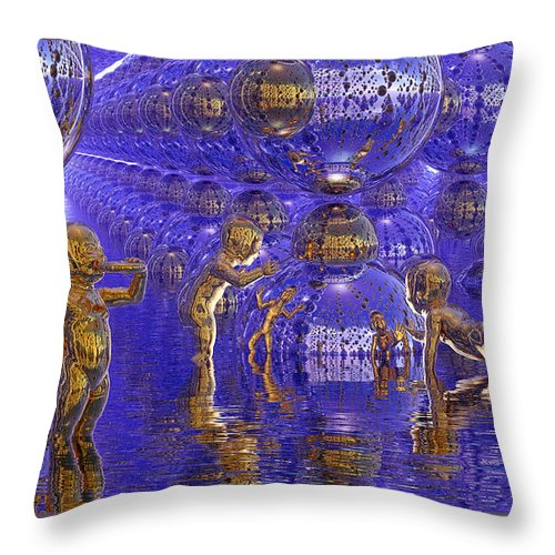 Surrealism Throw Pillow featuring the painting Harvesting Hydrogen by Robby Donaghey