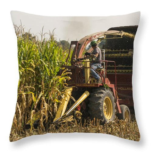 Corn Throw Pillow featuring the photograph Harvesting by Johnnie Nicholson