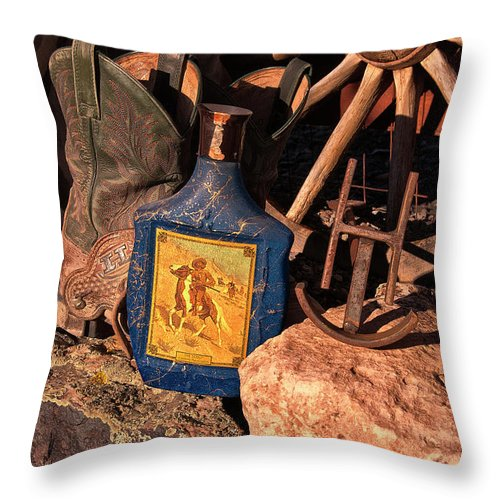 Cowboy Throw Pillow featuring the photograph Harvey's Cowboy Gear by Sandra Selle Rodriguez