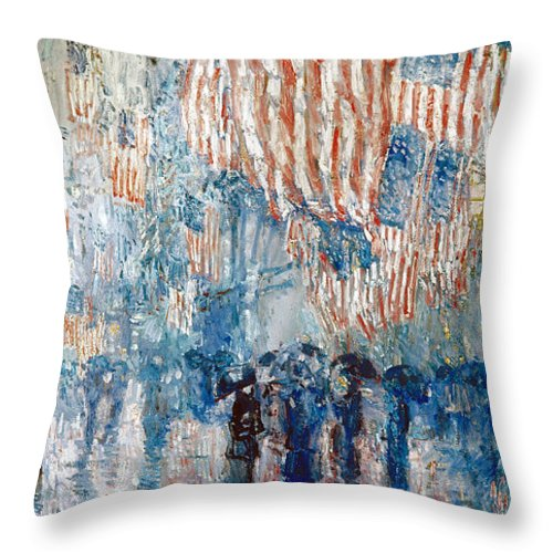 1917 Throw Pillow featuring the photograph Hassam Avenue In The Rain by Granger