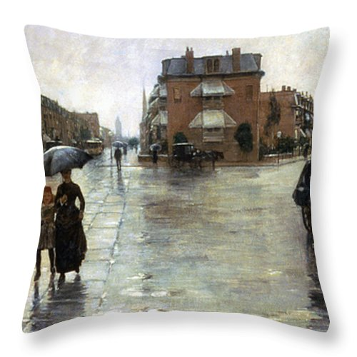1885 Throw Pillow featuring the photograph Hassam: Rainy Boston, 1885 by Granger