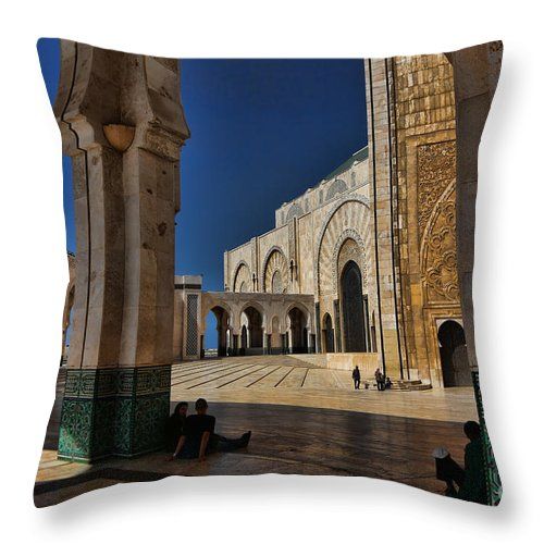 Casablanca Throw Pillow featuring the photograph Hassan II Mosque by Chuck Kuhn