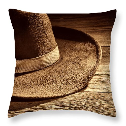 Cowboy Throw Pillow featuring the photograph Hat by American West Legend By Olivier Le Queinec