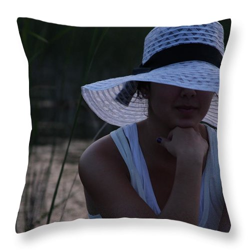 Woman Throw Pillow featuring the photograph Hat At Sunset by Michelle Miron-Rebbe