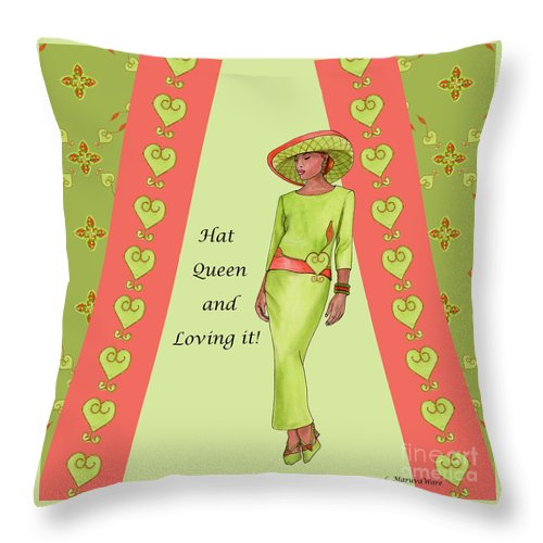 Hat Throw Pillow featuring the painting Hat Queen 1 by Marcella Muhammad