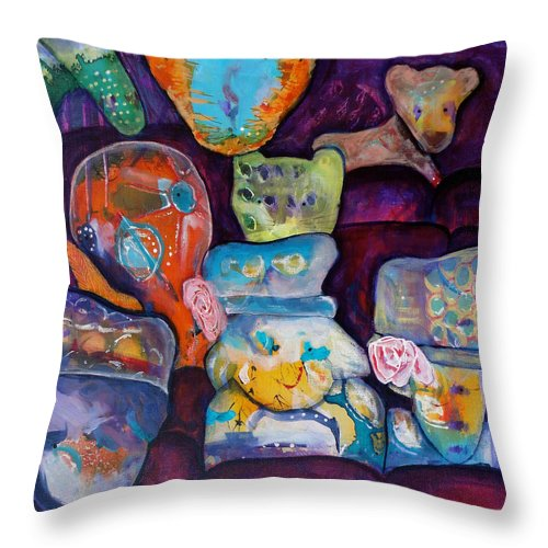 Bear Cub Throw Pillow featuring the painting Hats by Jenn Ashton