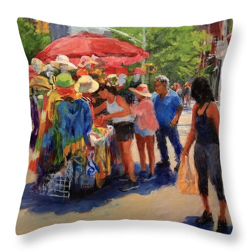 Landscape Throw Pillow featuring the painting Hats, Scarves And Sunlight On Broadway by Peter Salwen