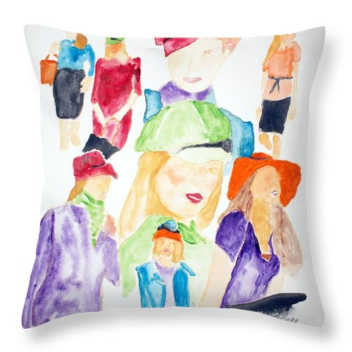 Hats Throw Pillow featuring the painting Hats by Shelley Jones