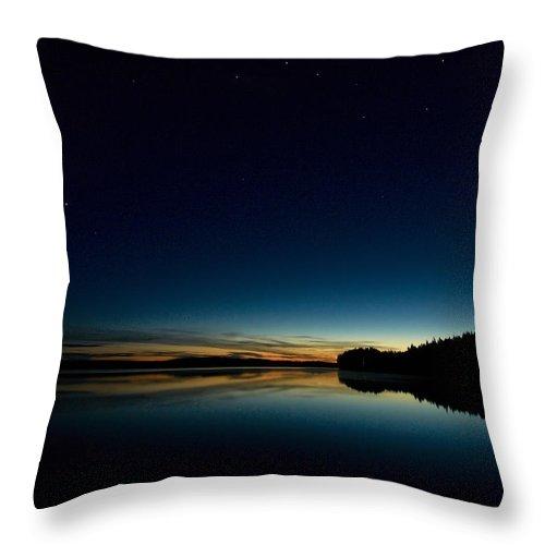Haukkajarvi Throw Pillow featuring the photograph Haukkajarvi By Night With Ursa Major 1 by Jouko Lehto