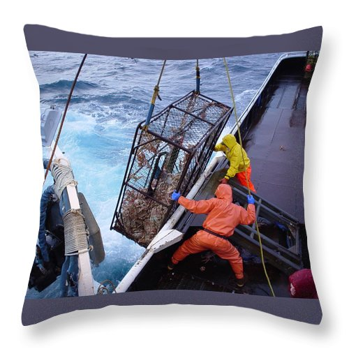 Bering Sea Throw Pillow featuring the photograph Hauling Gear by Dean Gribble