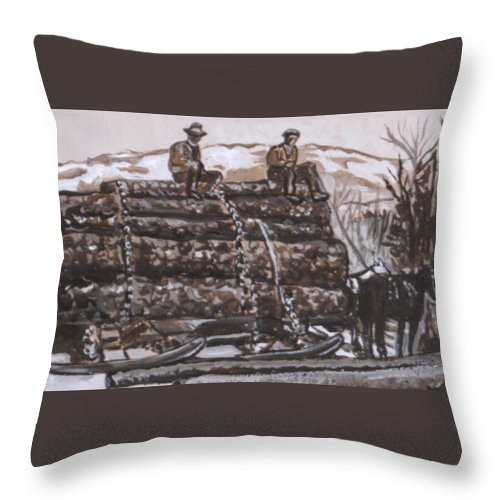 Historical Throw Pillow featuring the painting Hauling Logs Historical Vignette by Dawn Senior-Trask