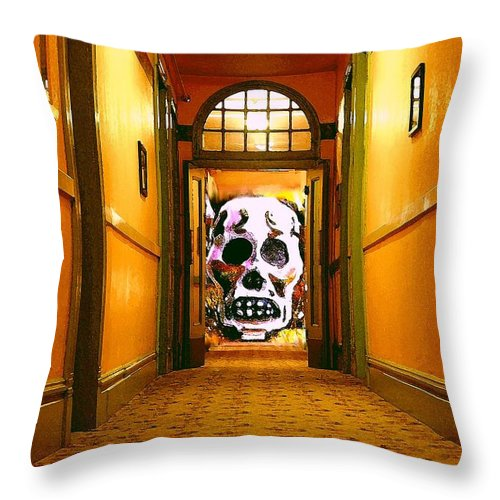 Haunted Throw Pillow featuring the photograph Haunted Hallway by Nelson Strong