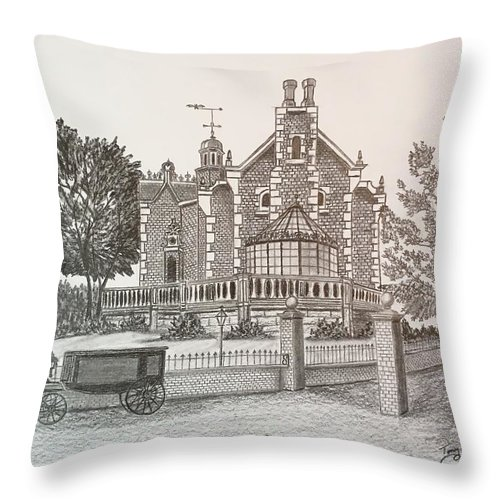 House Throw Pillow featuring the drawing Haunted Mansion by Tony Clark