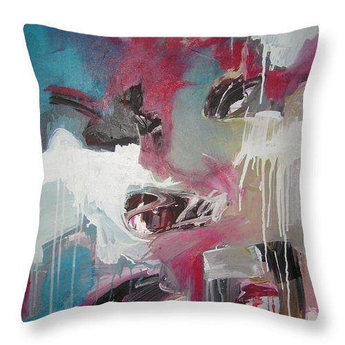 Abstract Red Blue Paintings Throw Pillow featuring the painting Haunted Voice-blue Red Painting by Seon-Jeong Kim