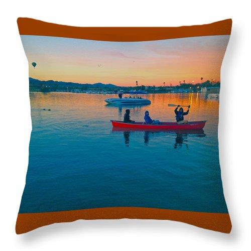 Canoe Throw Pillow featuring the photograph Havasu Canoe Ride At Sunrise by Carol Smythe
