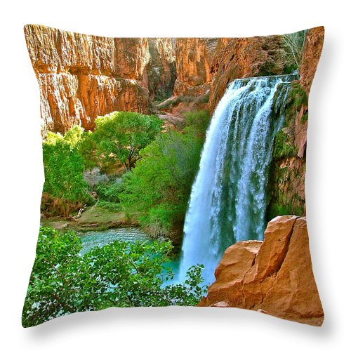 Waterfall Throw Pillow featuring the photograph Havasu Falls Canyon by Brent Sisson