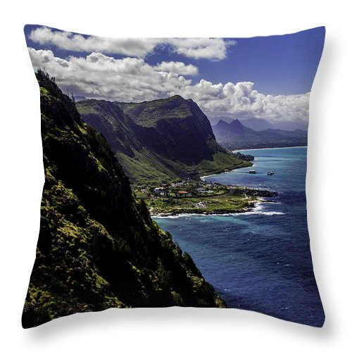 Hawaii Throw Pillow featuring the photograph Hawaii Coastline by Terry Cooper