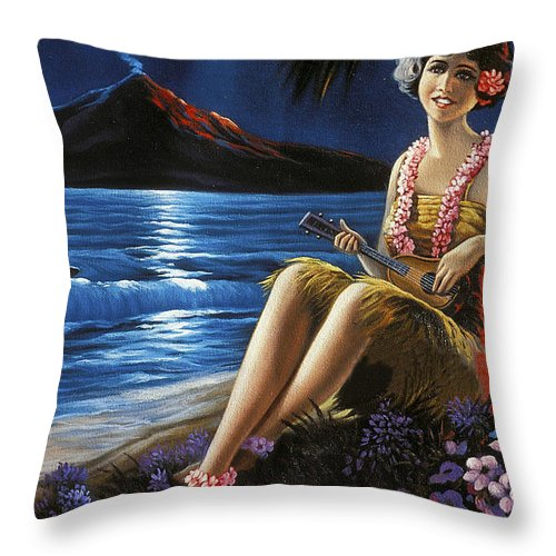 Hawaii Throw Pillow featuring the painting Hawaii, Hula Girl Plays Ukulele At Tropical Beach Night by Long Shot