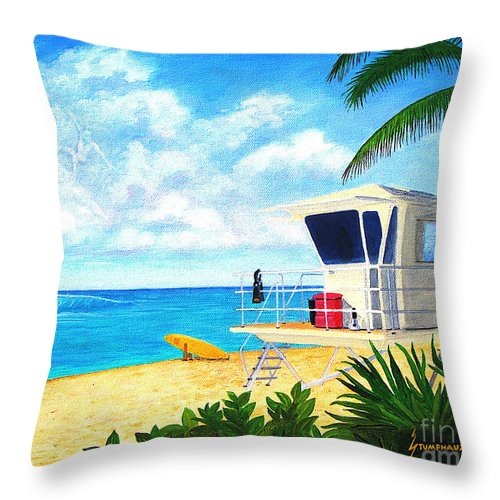 Hawaii Throw Pillow featuring the painting Hawaii North Shore Banzai Pipeline by Jerome Stumphauzer