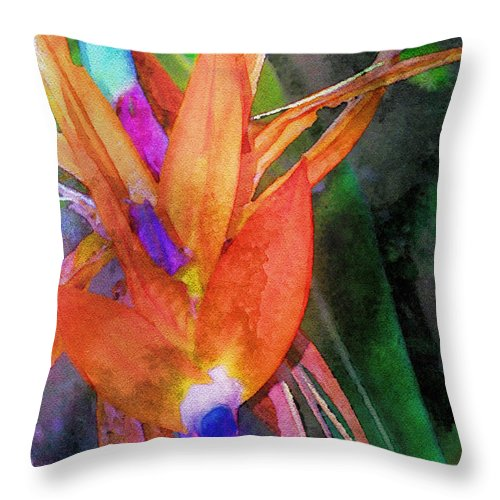 Bird Of Paradise Throw Pillow featuring the digital art Hawaiian Abstract by James Temple