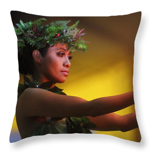 Fire Throw Pillow featuring the photograph Hawaiian Dancer And Firepots by Nadine Rippelmeyer
