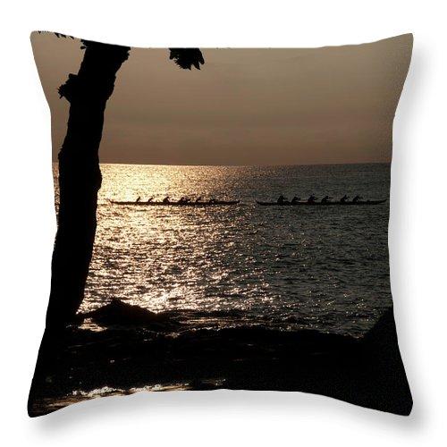 Hawaii Throw Pillow featuring the photograph Hawaiian Dugout Canoe Race At Sunset by Michael Bessler