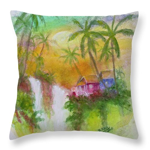 Hawaii Throw Pillow featuring the painting Hawaiian Homestead In The Valley #460 by Donald k Hall