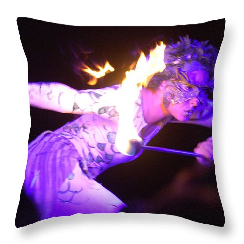 Hawaii Throw Pillow featuring the photograph Hawaiian Luau Fire Eater 2 by Jill Reger